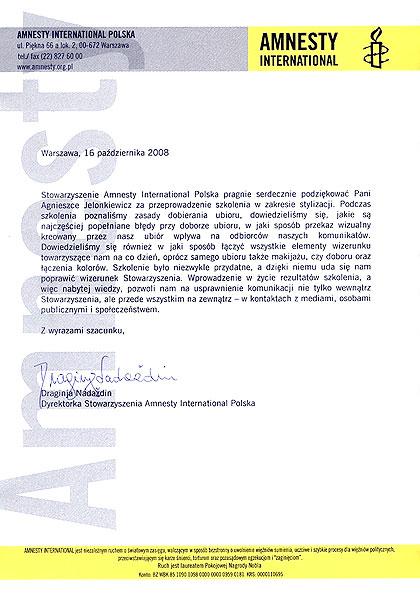kreowanie wizerunku Amnesty International Polska